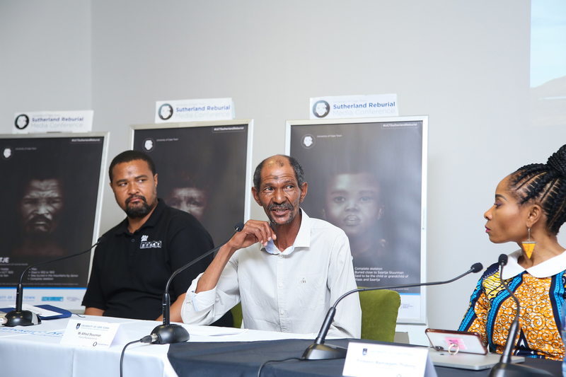 Family representatives of the Sutherland Abraham and Stuurman families, Anthony Mietas (left) and Alfred Stuurman address the press conference. On the right is UCT VC Prof Mamokgethi Phakeng.