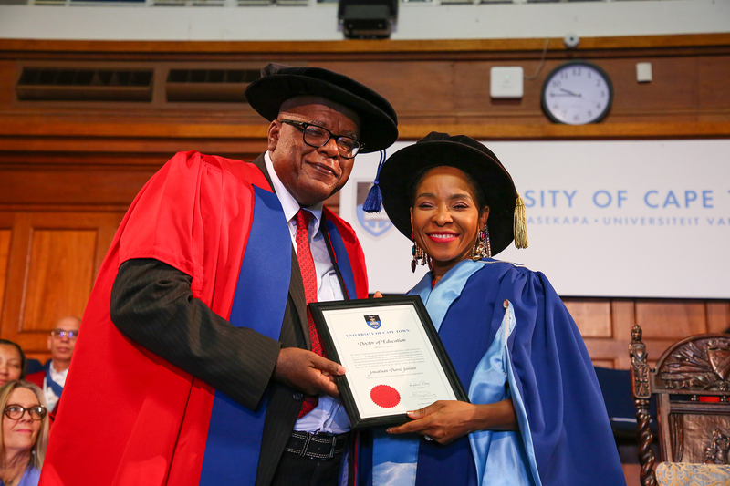 Prof Jonathan Jansen was awarded a Doctor of Education (honoris causa) from UCT, presented by VC Prof Mamokgethi Phakeng at this morning's humanities graduation.