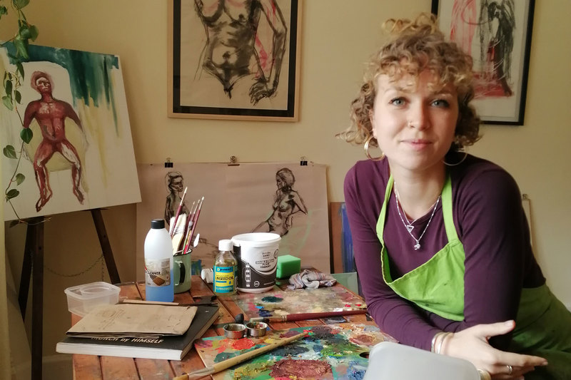 Catriona Towriss in her art studio, her creative refuge, at home.