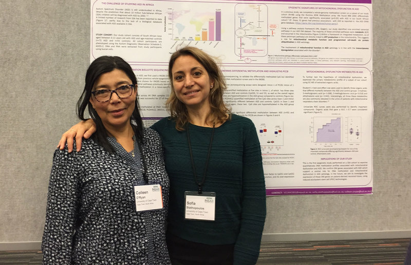 Colleen O'Ryan (left) and Sofia Stathopoulos at a 2019 autism (INSAR) conference.