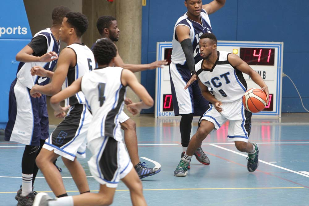 UCT's basketball team members show off their moves. UCT won the overall bastketball event.