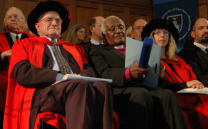 Nobel deeds: Nobel laureate Archbishop Emeritus Desmond Tutu, centre, received an honorary doctorate on behalf of fellow winner Aung San Suu Kyi. In picture with Tutu are Emeritus Professor JP van Niekerk and Prof Heather Zar, who was welcomed as a UCT Fellow at a graduation ceremony on Monday, 10 December.