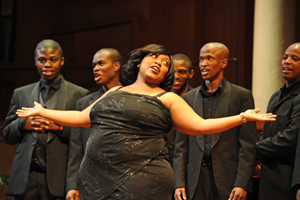 Swing out sister: Siyasanga Mbuyazwe of the UCT Opera School performs at the opening night of the Vice-Chancellor's Concert for the UCT community.