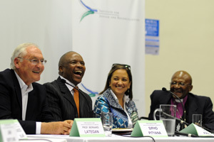 Talking seriously: Even among the serious topics, there was time for a laugh, as (from left) Prof Bernard Lategan, Dr Sipho Pityana, Ferial Haffajee and Archbishop Emer Desmond Tutu found at a recent 'public conversation'.