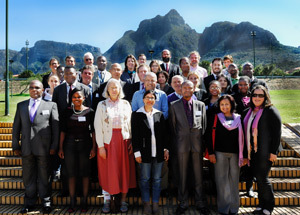 The attendees of the recently held UNHCR roundtable were hosted by Fatima Khan (front centre), director of UCT's Refugee Rights Unit. They included Prof Bonaventure Rutinwa and Dr Hugo Storey (second and third from the left in the second last row), as well as Prof Theo Farrell (centre back).