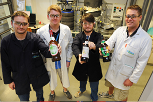 Cool brews: Award-winning UCT beer brewers (from left) Alex Opitz, Mark Kerr, Brian Willis and Dr Rob Huddy show off the concoctions that won acclaim at the recent SAB Intervarsity Beer Brewing Challenge.