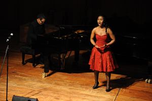 Rising star: The School of Opera's Soprano Nomsa Mpofu delivered a memorable performance of Vissi d'arte from Tosca, accompanied by Kamal Khan on piano.