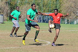 Close control: Johnny Oriokot (green), of Easoc vies for possession with Obi Chigozie of eventual winners Ghanasoc in UCT's third annual Mini Africa Cup of Nations on 17 May.