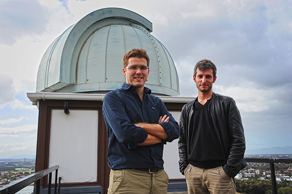 Exotic system: UCT astronomers Dr Roger Deane and Mickael Coriat are part of a team that has discovered three closely orbiting supermassive black holes in a galaxy more than four billion light years away, the tightest trio of black holes known. (Absent: Visiting Prof Rob Fender.)
