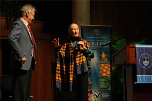 Road to Gombe: Primatologist and chimpanzee champion Dr Jane Goodall with Vice-Chancellor Dr Max Price.