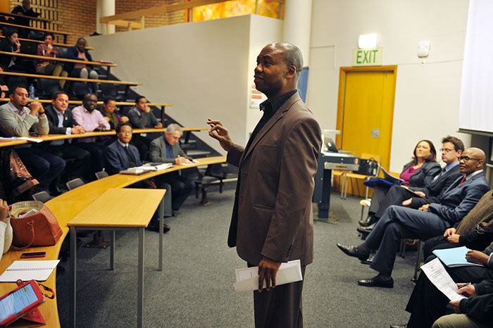 "Council member Buyani Zwane facilitating a <a href=""/article/-2014-08-14-the-race-to-equity-in-higher-education-institutions"">debate on employment equity and affirmative action</a>, hosted by the university's Transformation Services Office in August 2014. (Photo by Je'nine May.)"