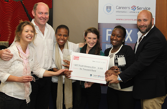 Team Ara won on the first FLUX day. They are (from left), Megan Antonie, Dean Jansen van Vuuren, Bongiwe Zungu, Lara-Lee Rothwell and Krystal Musyoki. Photographed with them is David Casey, director of UCT's Careers Service.