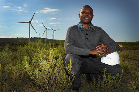 Dr Denis Kalumba at the Darling Wind Farm, where he, together with some students, has been researching best practice for the foundation of windmills. A radical overhaul of UCT's Geotechnical Laboratory, and the addition of four pieces of fully automated soil-testing equipment, has propelled the lab near the top of the geotechnical engineering ladder in Africa. Kalumba hopes that the revamped lab will eventually become a Centre of Excellence.