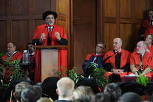 Professor Salim Abdool Karim addresses the audience at the opening graduation ceremony after receiving an honorary doctorate in science in medicine.
