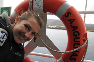 Sea fever: Oceanographer Katherine Hutchinson graduated in December 2013, having earned a co-badged master's degree from UCT and l'Universite de Bretagne Occidentale, France. In this photo Hutchinson is aboard the <i>SA Agulhas II</i> during a recent UCT-led expedition.