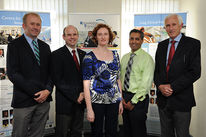From left: Associate Professors Rodney Dawson, head of the Centre for Tuberculosis Research Innovation; Richard van Zyl-Smit, head of the Lung Clinical Research Unit; Lara Fairall, head of the Knowledge Translation Unit; with Prof Keertan Dheda, head of the Lung Infection and Immunity Unit, and Emeritus Professor Eric Bateman, director of UCT Lung Institute.