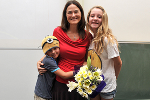 The Marsdens: Gil Marsden, centre, flanked by her children, Jake and Holly, at the memorial service hosted by UCT's Department of Computer Science in honour of the late Professor Gary Marsden. Jake is wearing a minion-shaped hat, in commemoration of his father's affectionate term for his postgraduate students.