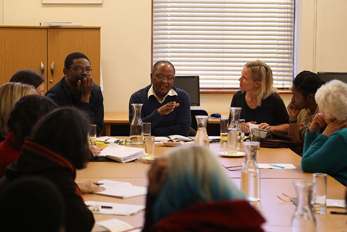 Assoc Prof Harry Garuba, Prof Njabulo Ndebele and Prof Sarah Nuttall debating race and identity in the John Berndt Thought Space on 18 September 2014, at a packed lunchtime event hosted by the Archive and Public Culture Research Initiative (APC).