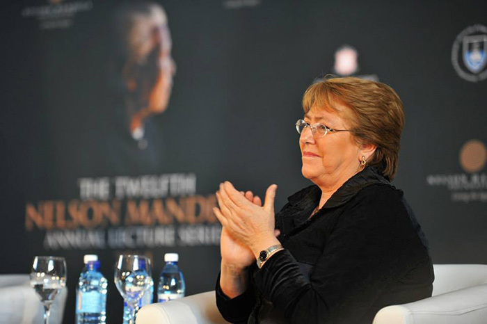 Chilean President Michelle Bachelet shared her views on the extent of gender violence in the world and what needs to be done about as a participant of a Gender-in-Dialogue event, which formed part of the Twelfth Nelson Mandela Annual Lecture Series.