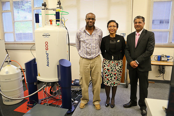 Nano viewpoint: (From left) Prof Kelly Chibale explains the workings of the Department of Chemistry's new 600MHz nuclear magnetic resonance spectrometer, coupled to a cold probe, to the National Research Foundation's Dr Linda Mtwisha and Gansen Pillay. The equipment will allow researchers to work in nano-concentration range to identify new molecules for drug development. The NRF helped to fund the facility.