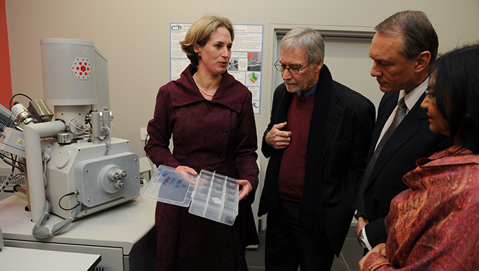 Close look: Dr Megan Becker, left, with the new QEMSCAN to her right, shows samples of ore that the machine will analyse in minute detail, to Deputy Vice-Chancellor Professor Danie Visser, Dr Rob Schouwstra of Anglo Technical Solutions and NRF Executive Director for Human and Institutional Capacity Development Dr Romilla Maharaj.