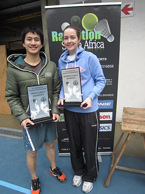 Making a racket: Tsu-Shiuan Lin (left), winner of the 2013 men's tournament, and Kirsten Porter, winner of the 2013 women's tournament, with their silverware after last year's inaugural UCT Closed Racketlon championships.