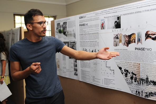 Sadiq Toffa, winner of the design competition to commemorate the slaves buried at the Rustenburg farm – now UCT's middle campus – explains the different phases of his winning proposal, titled Disappeared bodies/Dispossessed Knowledges.