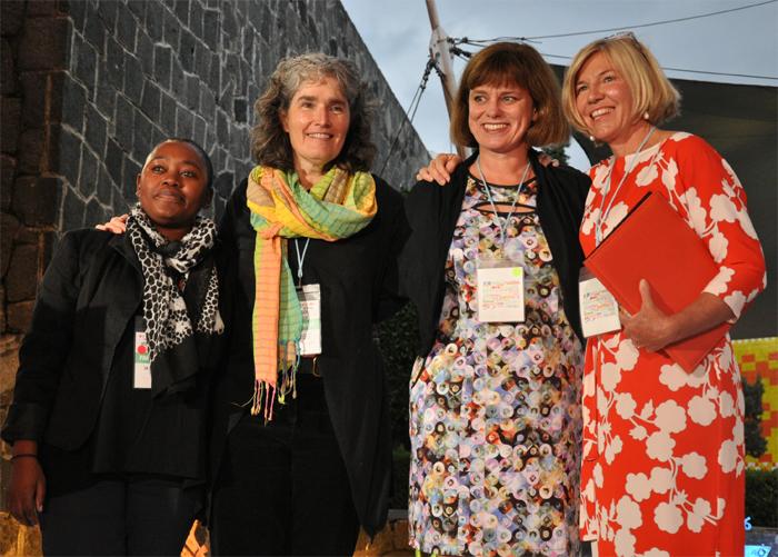 "PRAESA's Ntombizanele Mahobe and Dr Carole Bloch together with fellow IBBY-Asahi winners the <a href=""http://www.childrensbookbank.com/"" target=""_blank"">Children's Book Bank</a>."