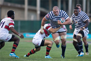 Swimming upstream: UCT replacement forward Shaun McDonald drives through a tough visiting defence, but his efforts could not prevent the Ikeys from slipping to a 26-16 home defeat to defending champions FNB Up-Tuks on 24 February