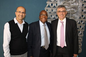 Director of the School of Public Health and Family Medicine Professor Mohamed Jeebhay, Minister of Health Dr Aaron Motsoaledi and Dean of the Faculty of Health Sciences Professor Wim de Villiers at a recent discussion on universal healthcare.