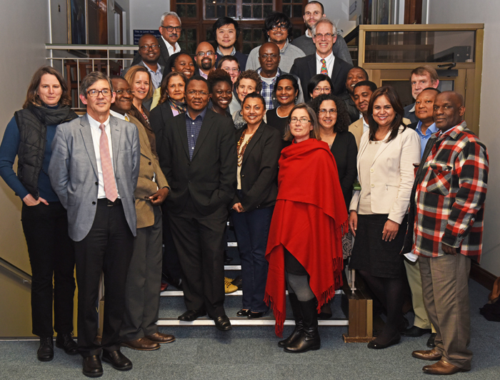 From left, back row: Anwar Jardine, Chun-Sung Huang, Bodhi Kar and Paul Barendse. Second back row: Lebogang Ramma, Sinegugu Duma, Reuben Govender, Tracy Craig, Manya Mooya and Robert Morrell. Second front row: Suellen Shay, Corrine Shaw, Tolu Oni, Kate le Roux, Jennifer Moodley, Colleen O'Ryan, Frank Matose, Freedom Gumedze and Anton le Roex. Front row: Meg Samuelson, Greg Hussey, Bob Osano, Sakhela Buhlungu, Waheeda Amien, PJ Schwikkard, Sharon Kleintjes, Virna Leaner, Mushi Matjila and Mike Kyobe.