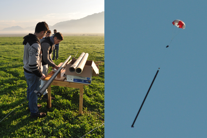 Left: Stuart Swan and the team preparing the rocket for its record-breaking launch. Right: The featherweight record-breaking rocket's descent.