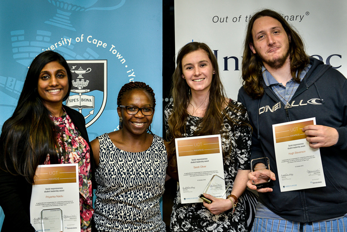 Priyanka Naidu, president of the SHAWCO Health Steering Committee; Carol Dlamini; Sarah Oliver, chair of Ubunye Development Agency; and Hugh Stevenson, chair of Green Campus Initiative.