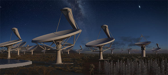 An artist's impression of the SKA instruments at night under one sky. The left half of the image represents the antennas to be located in Africa and the right half the ones to be located in Australia.