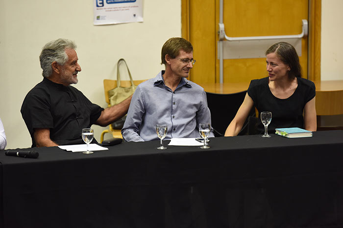 Breyten Breytenbach (left), Gustav Brink and Karina Szczurek honoured the late Emeritus Professor André Brink's memory at UCT on 2 March.