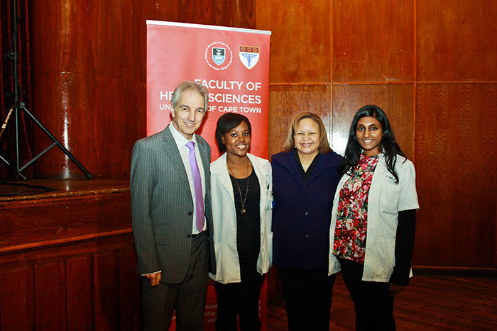 Celebrating the launch of the 'UCT in Eden' initiative are UCT Vice-Chancellor Dr Max Price, Aniefiok Edem, Prof Gonda Perez and Priyanka Naidu. Medical students Edem and Naidu both agreed they had gained excellent knowledge and experience by working in the region.