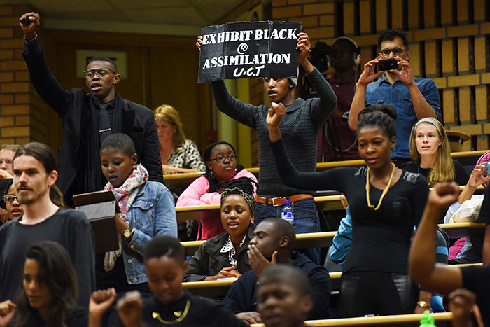 Students protesting at the transformation seminar scheduled for Monday 16 March 2015.
