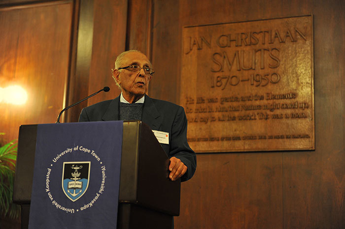 Political activist and struggle veteran Ahmed Kathrada accepted the task of responding to UCT's vice-chancellor on behalf of himself and his fellow honorary graduates and graduands.