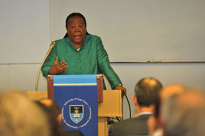 Naledi Pandor, South Africa's Minister of Science and Technology, speaking at the launch of the SA-Swiss Bilateral Research Chair at UCT on 3 June 2015.