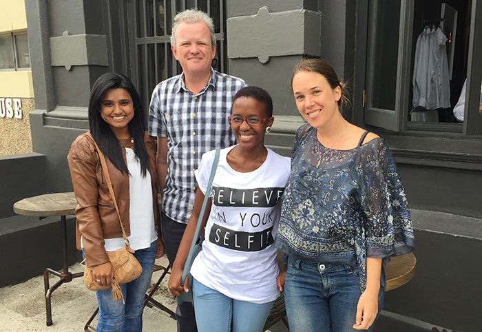 Queen's winners: From left Patrice Madurai; the British consul general for Cape Town, Chris Trott; Nosipho Bele; and Emma Dicks.