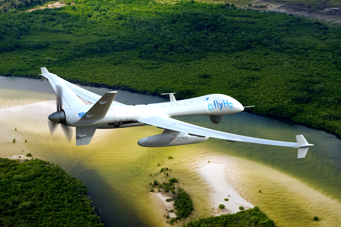 Artist's impression of FlyH2's unmanned aerial Alpha aircraft surveying a water catchment area.