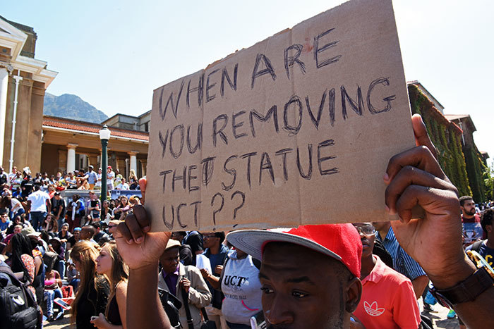 UCT students protesting the display of Cecil John Rhodes' statue on upper campus.