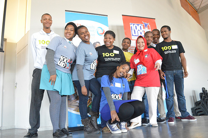 UCT's enrolment of students from Khayelitsha has nearly tripled, from 29 in 2013 to 80 in 2015 – thanks in no small part to 100-UP, a three-year support programme that focuses on building the academic and life skills of 300 Grade 10-12 learners, drawn from all 20 secondary schools in Khayelitsha. Here, 100-UP students pose with project manager Ferial Parker after presenting at the Schools Improvement Initiative seminar on 22 August.