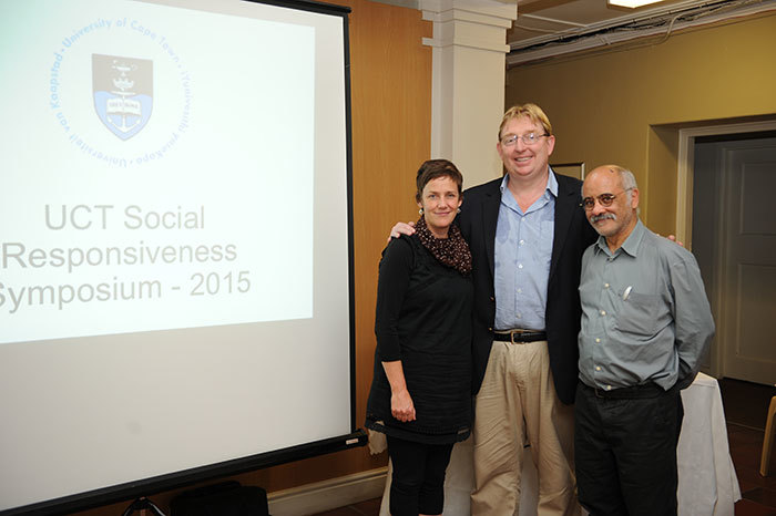 Sophie Oldfield and Stuart Hendry, winners of the 2014 Vice-Chancellor's Social Responsiveness Awards, together with Deputy Vice-Chancellor Prof Crain Soudien at the launch of the 2013-2014 Social Responsiveness Report.