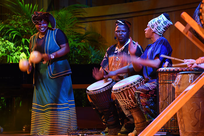 Shake it up: (From left) Percussionists Sky Dladla, Dizu Plaatjies and Capoeira contra-mestre Esperrinho from Brazil in the African music performance.
