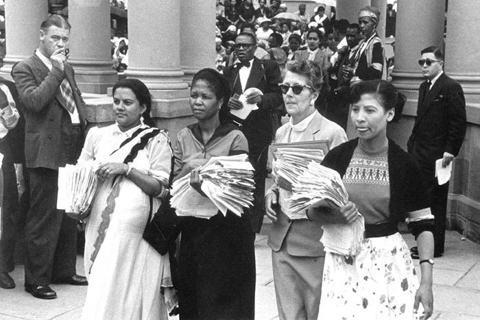 On 9 August 1956, more than 20 000 women marched on Union Buildings with a petition to end pass laws – led by Rahima Moosa, Lilian Ngoyi, Helen Joseph and Sophia Williams. (Photo by Jurgen Schadeberg.)