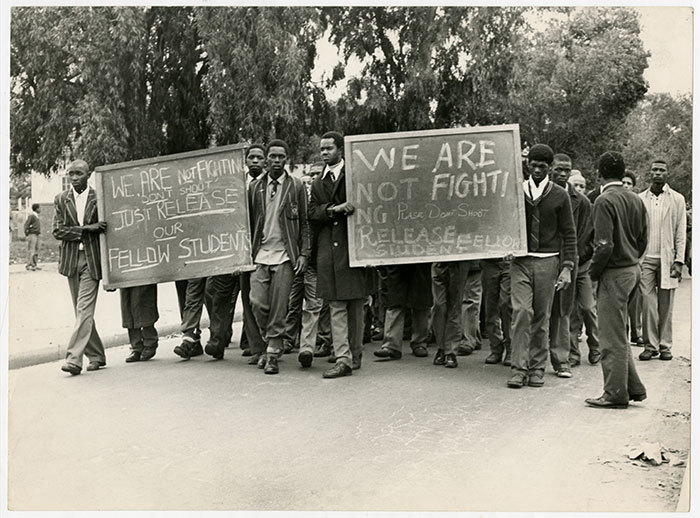 Langa High pupils march in August 1976.