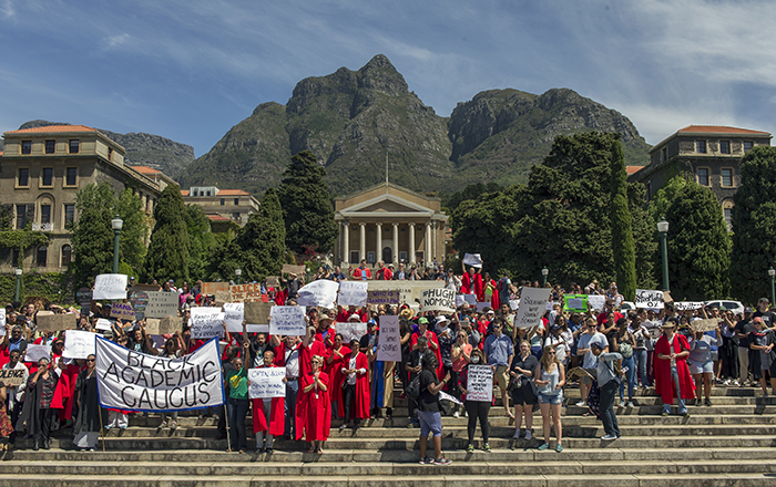 Police treatment of protesting students was at the centre of a march that united academics, PASS staff, workers and students. Photo by Jaco Marais/Media24.