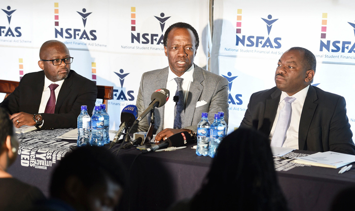 Jomo Jacobs (NSFAS General Manager for Loans and Bursaries), Sizwe Nxasana (NSFAS Chairman) and Msulwa Daca (NSFAS Executive Officer) during a media briefing on the 2016 budget allocations and administration processes for additional funding.
