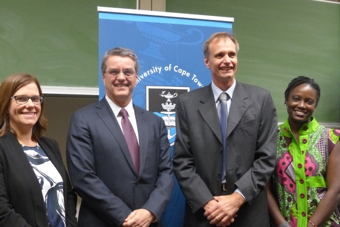 Prof Ingrid Woolard, Roberto Carvalho de Azevêdo (head of the WTO), Prof Lawrence Edwards and student Darkowa Awinador.